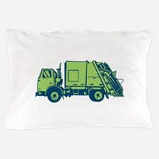 Garbage Truck Rear End Loader Side Woodcut Pillow