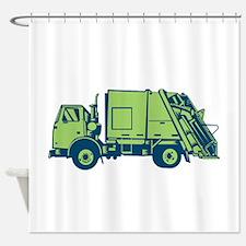 Garbage Truck Rear End Loader Side Woodcut Shower