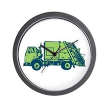 Garbage Truck Rear End Loader Side Woodcut Wall Cl
