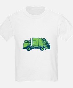 Garbage Truck Rear End Loader Side Woodcut T-Shirt