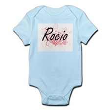 Rocio Artistic Name Design with Flowers Body Suit