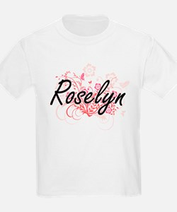 Roselyn Artistic Name Design with Flowers T-Shirt