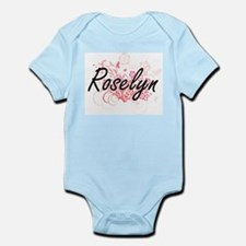 Roselyn Artistic Name Design with Flower Body Suit