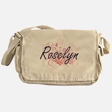 Roselyn Artistic Name Design with Fl Messenger Bag