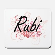 Rubi Artistic Name Design with Flowers Mousepad