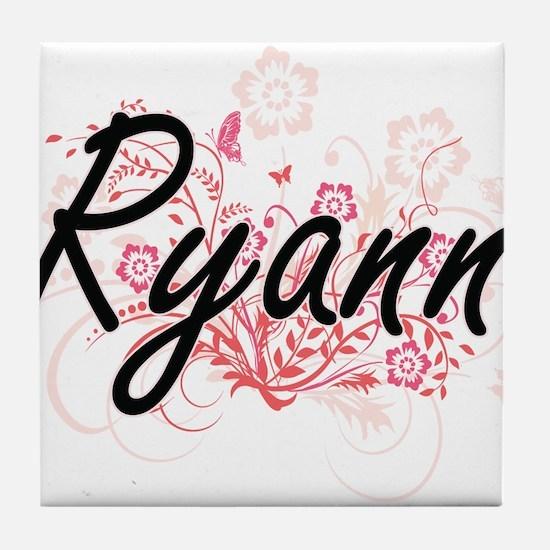 Ryann Artistic Name Design with Flowe Tile Coaster