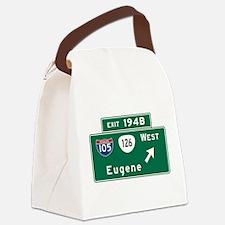 Eugene, OR Road Sign, USA Canvas Lunch Bag