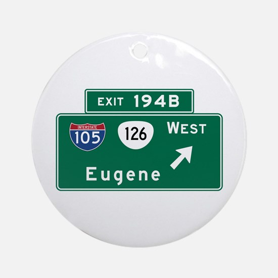 Eugene, OR Road Sign, USA Round Ornament