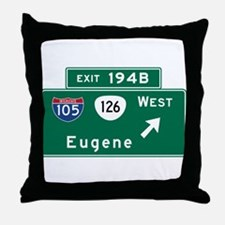 Eugene, OR Road Sign, USA Throw Pillow