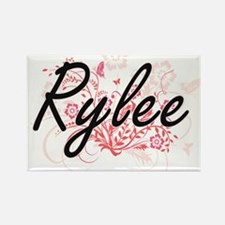 Rylee Artistic Name Design with Flowers Magnets