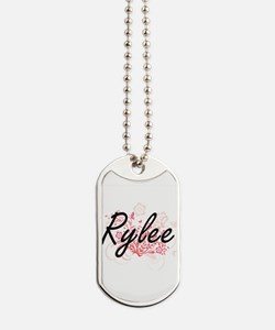 Rylee Artistic Name Design with Flowers Dog Tags