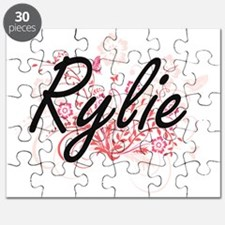 Rylie Artistic Name Design with Flowers Puzzle
