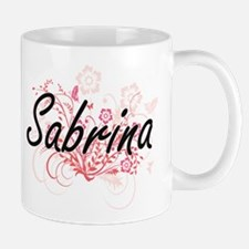 Sabrina Artistic Name Design with Flowers Mugs
