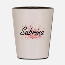 Sabrina Artistic Name Design with Flowe Shot Glass