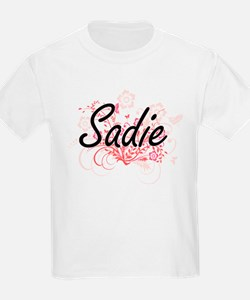 Sadie Artistic Name Design with Flowers T-Shirt