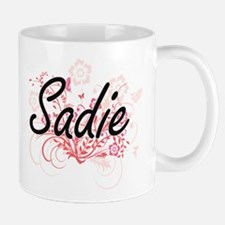 Sadie Artistic Name Design with Flowers Mugs