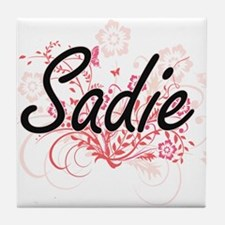 Sadie Artistic Name Design with Flowe Tile Coaster