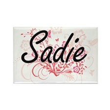 Sadie Artistic Name Design with Flowers Magnets