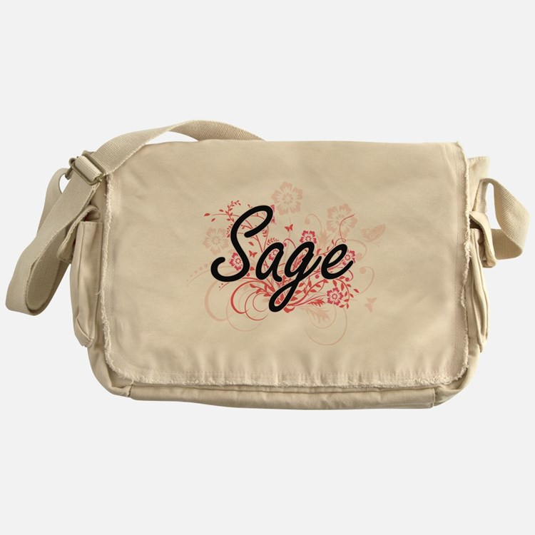 Sage Artistic Name Design with Flowe Messenger Bag