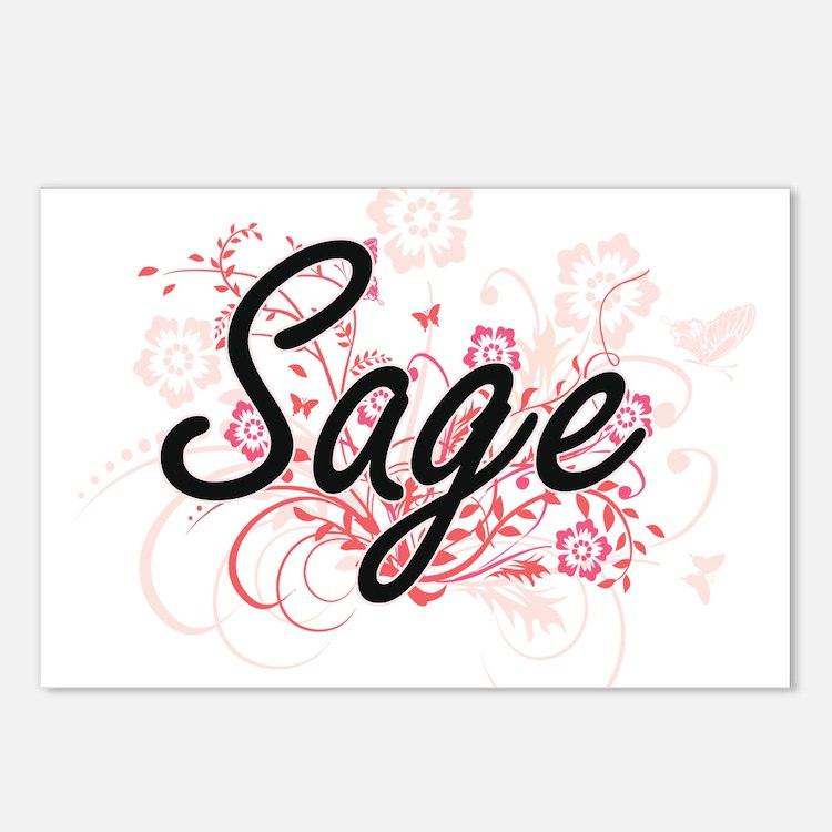 Sage Artistic Name Design Postcards (Package of 8)