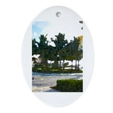 tropical circle Oval Ornament