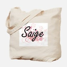 Saige Artistic Name Design with Flowers Tote Bag