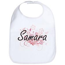 Samara Artistic Name Design with Flowers Bib
