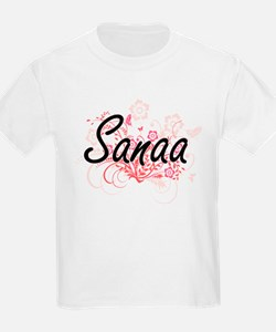 Sanaa Artistic Name Design with Flowers T-Shirt