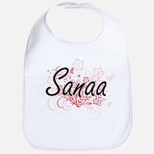 Sanaa Artistic Name Design with Flowers Bib