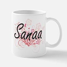 Sanaa Artistic Name Design with Flowers Mugs