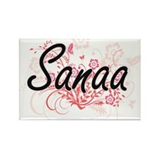 Sanaa Artistic Name Design with Flowers Magnets