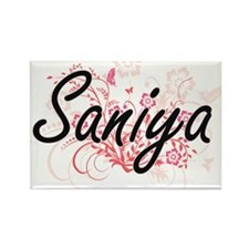 Saniya Artistic Name Design with Flowers Magnets