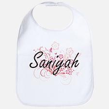 Saniyah Artistic Name Design with Flowers Bib