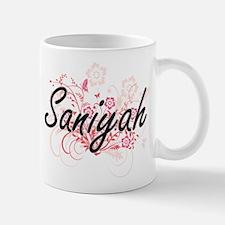 Saniyah Artistic Name Design with Flowers Mugs