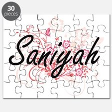 Saniyah Artistic Name Design with Flowers Puzzle
