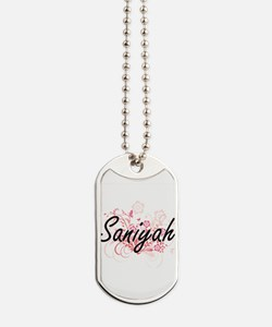 Saniyah Artistic Name Design with Flowers Dog Tags