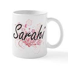 Sarahi Artistic Name Design with Flowers Mugs