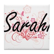 Sarahi Artistic Name Design with Flow Tile Coaster
