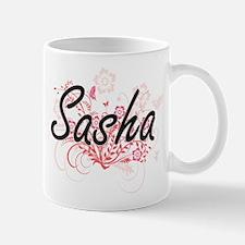 Sasha Artistic Name Design with Flowers Mugs