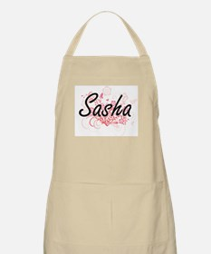Sasha Artistic Name Design with Flowers Apron