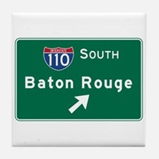 Baton Rouge, LA Road Sign, USA Tile Coaster