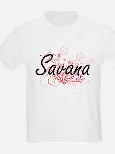 Savana Artistic Name Design with Flowers T-Shirt