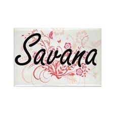Savana Artistic Name Design with Flowers Magnets