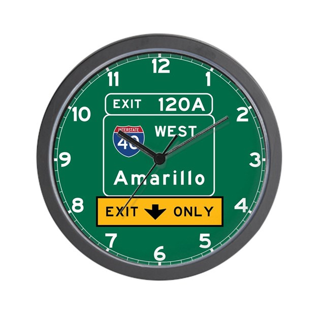 Amarillo Tx Road Sign Usa Wall Clock By Worldofsigns2