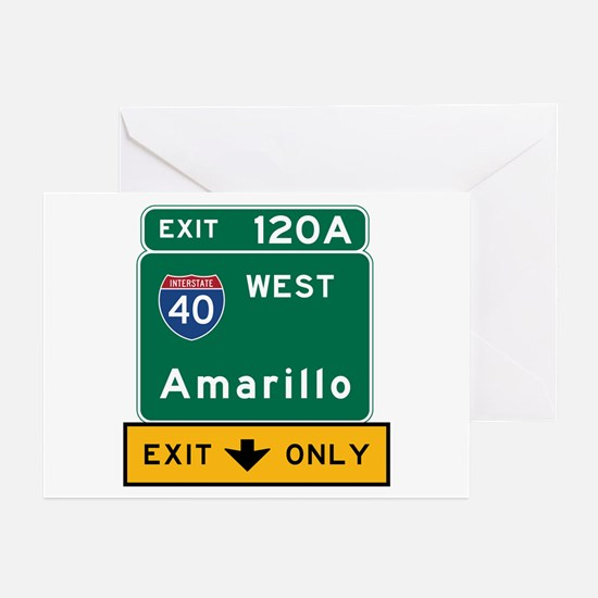 Amarillo, TX Road Sign, Greeting Cards (Pk of 10)