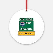 Amarillo, TX Road Sign, USA Round Ornament