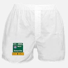 Amarillo, TX Road Sign, USA Boxer Shorts