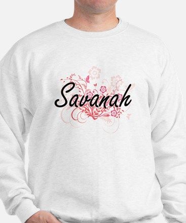 Savanah Artistic Name Design with Flowe Sweater