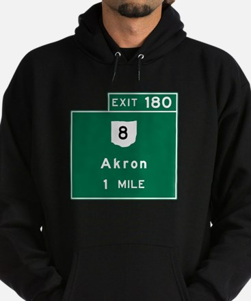 Akron, OH Road Sign, USA Hoodie (dark)