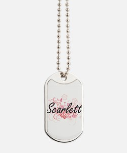 Scarlett Artistic Name Design with Flower Dog Tags